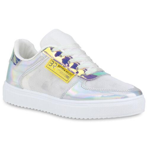 Damen Sneaker Low Metallic Turnschuhe Glitzer Freizeit Schnürer 898947 Hot