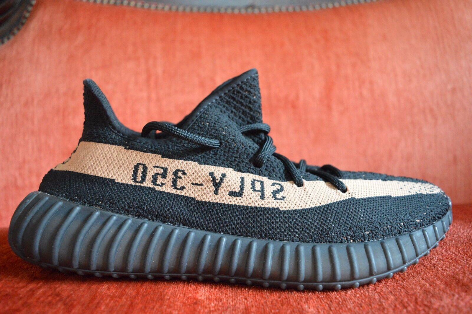 WORN ONCE Adidas Yeezy Boost 350 V2 Black Copper Bronze Stripe Size 10 OG ALL