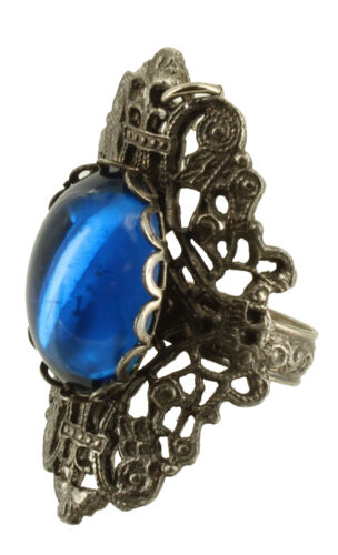 Vintage Victorian Revival Filigree Book Chain Amber Glass  Cab Bracelet /& Ring 7