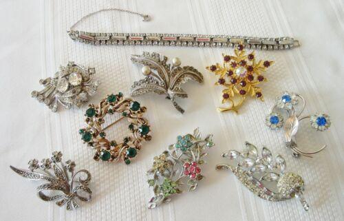 Lot Vintage Costume Jewelry Rhinestone Marcasite … - image 1