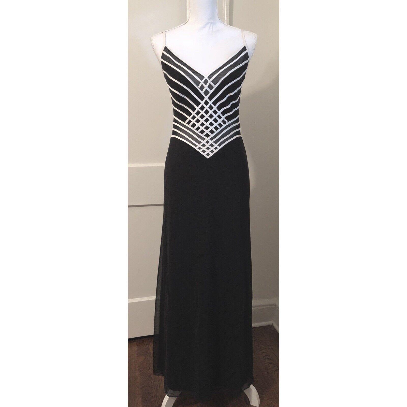 Tadashi schwarz Weiß See Through Mesh Evening Gown Small