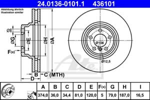 2x Bremsscheibe für Bremsanlage Vorderachse ATE 24.0136-0101.1