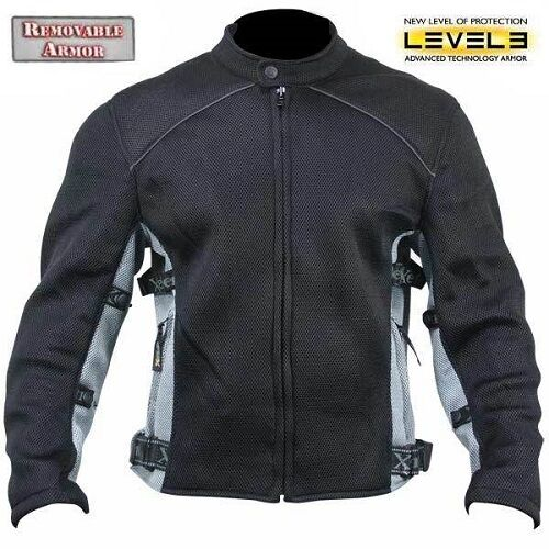 5X-Large Xelement CF2157 Caliber Mens Black Mesh Motorcycle Jacket with X-Armor Protection