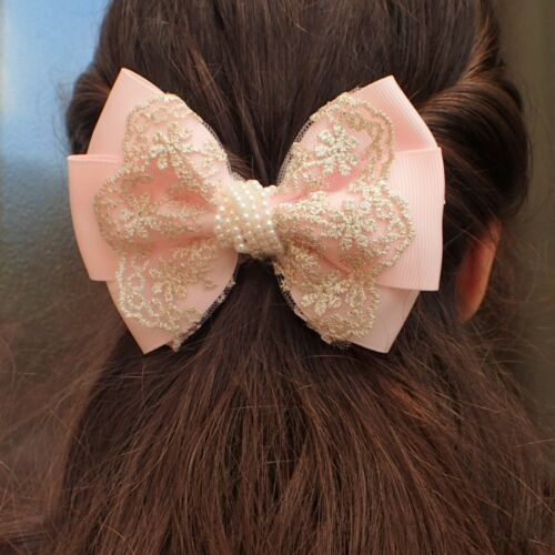 GIRLS BOWS BOUTIQUE HAIR CLIP PIN ALLIGATOR CLIP GROSGRAIN RIBBON LACE PEARL BOW