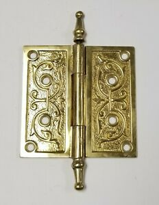 A24-Vintage-Brass-Eastlake-Ornate-Steeple-Top-Hinge-Single-5-034-x-5-034