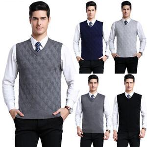 Mens-Knit-Slim-Fit-Sweater-Pullover-Argyle-Jumper-Vest-Sleeveless-V-Neck-Tops