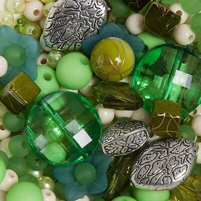 300 perlen grün-und-silber Mix Schmuck Machen Bastelpaket Bastelset Basteln