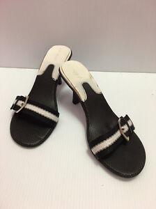 1a5f441953d0 Women s Bamboo BLACK   WHITE Belt Strap High Heels Slip On Sandals ...