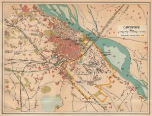 Cawnpore City Plan Showing Cantonment 1929 Old Map Pleasant To The Palate kanpur Rapture British India