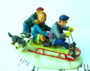 Victorian Village Christmas Snow Sledding Children and Dog Lemax Figurine