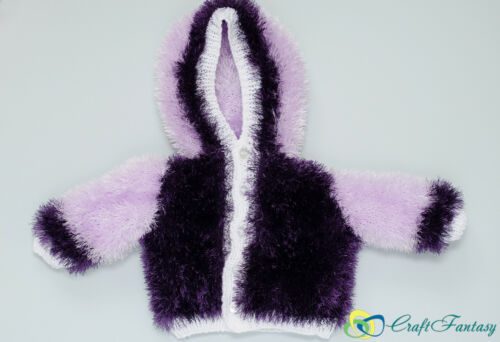 New Hand Knitted Baby Hooded Eyelash Cardigan 0-3 months Various Colours