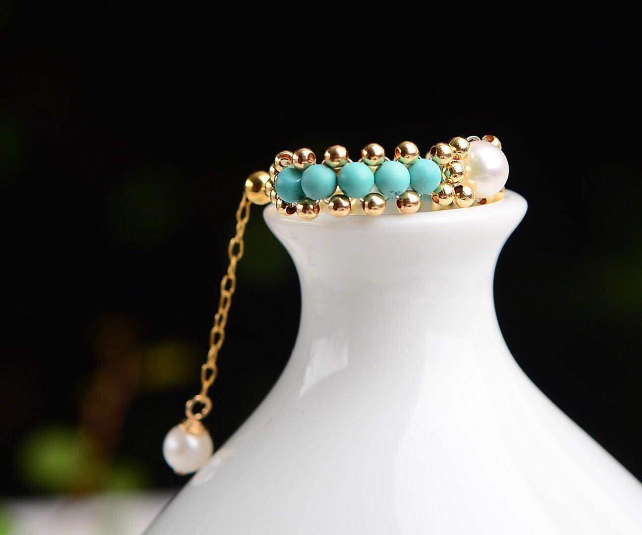 Certified Natural Turquoise 9k Yellow gold Women Fine Ring With Adjusted Chain