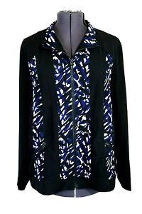 Zenergy-Chico-3-Women-039-s-XL-Black-Blue-amp-White-Full-Zip-Athleisure-Jacket