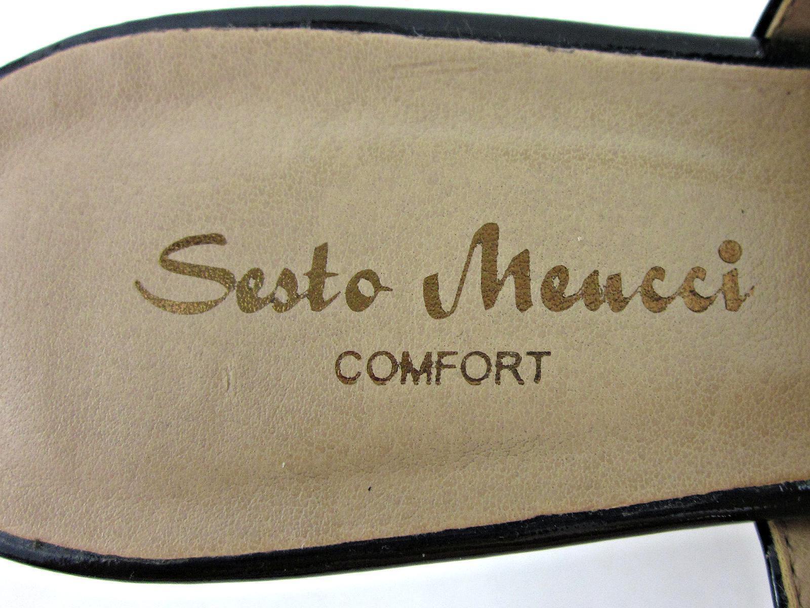 Sesto Meucci Confort Sandalias Punta Abierta Charol Sandalias Confort De Taco Bajo Negro Patente Talla 8M 857b23