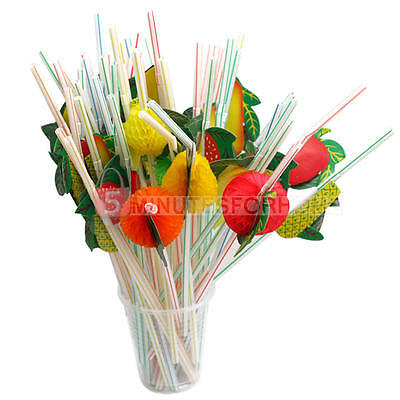 3D Fruit Cocktail Drinking Straw 50 Assorted Party BBQ Hawaiian Theme Decoration