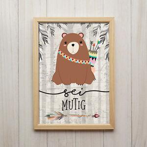 Kunstdruck Kinderzimmer | Bild Bar Sei Mutig Kunstdruck A4 Tier Spruch Poster Kinderzimmer