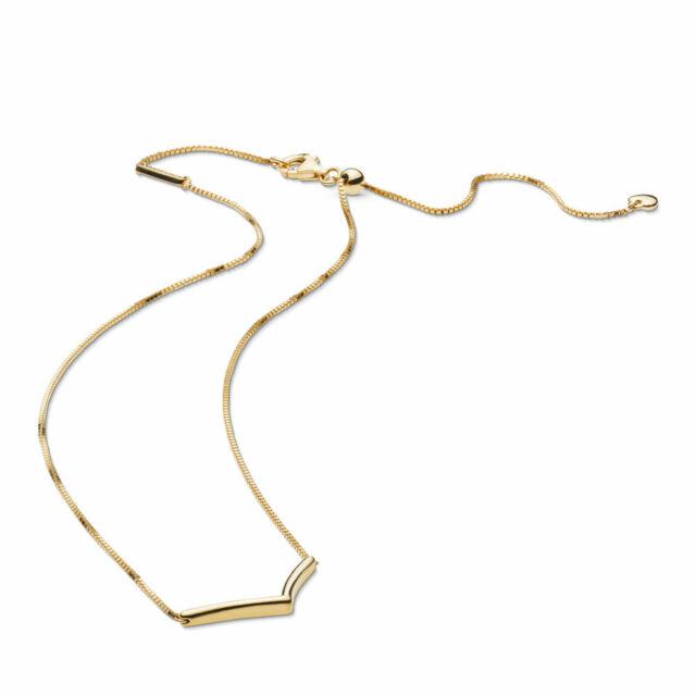 Authentic PANDORA Shine 18k Gold Shining Wish Wishbone Necklace 367803