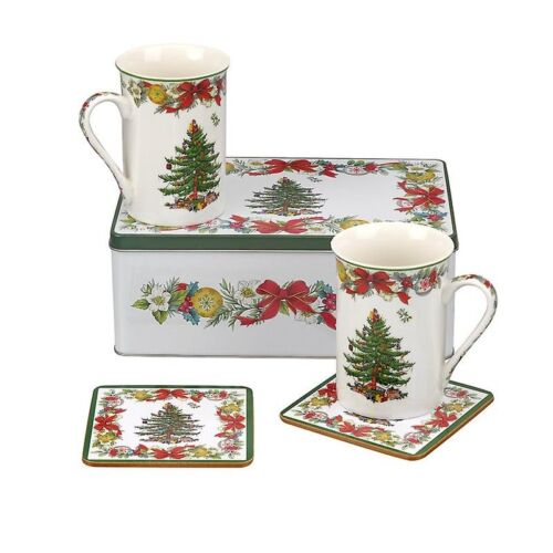 Spode Christmas Tree Holly Ribbons 5-Piece Mug /& Coaster Tin Gift Set #C382