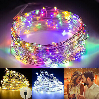 Usb Plug In 100 Led Diy Micro Copper Wire String Lights Party Static Fairy Light Ebay