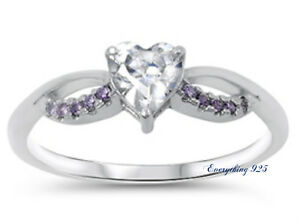 Sterling Silver 925 HEART LOVE DESIGN PROMISE RINGS W// CZ STONES 8MM SIZES 4-10