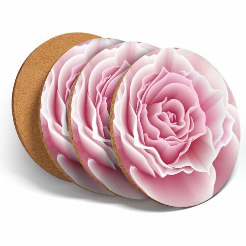 4 Set-Pretty Pink Rose Posavasos-Rosas Flores Posavasos De cocina Regalo #15593