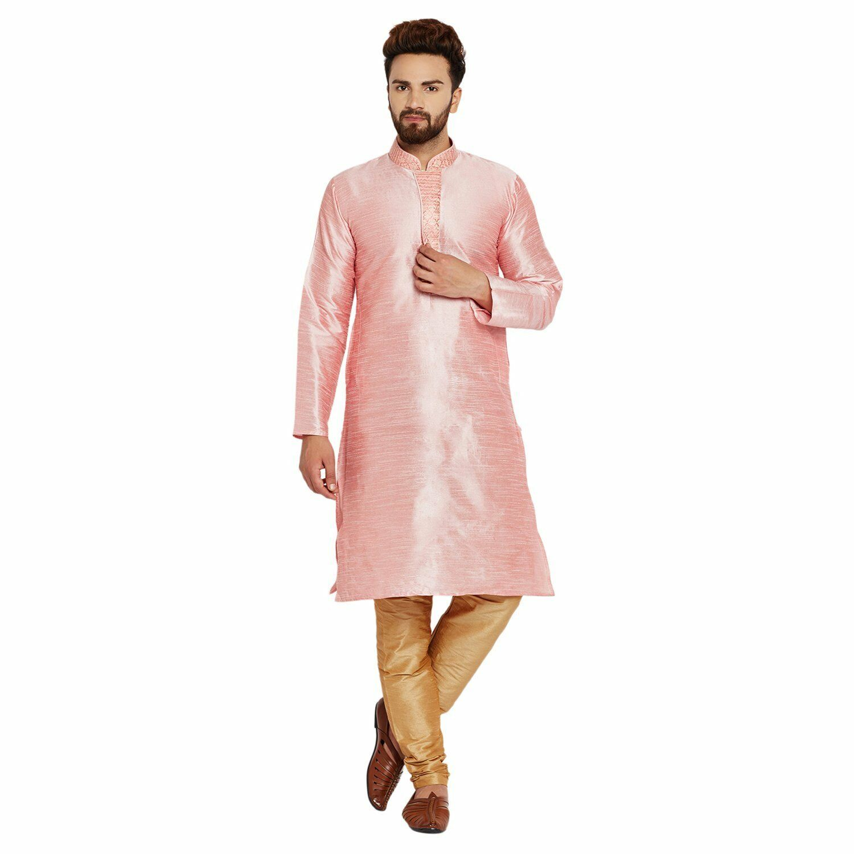 Traditional Men's Wear Pink Dupion Silk Festive Kurta