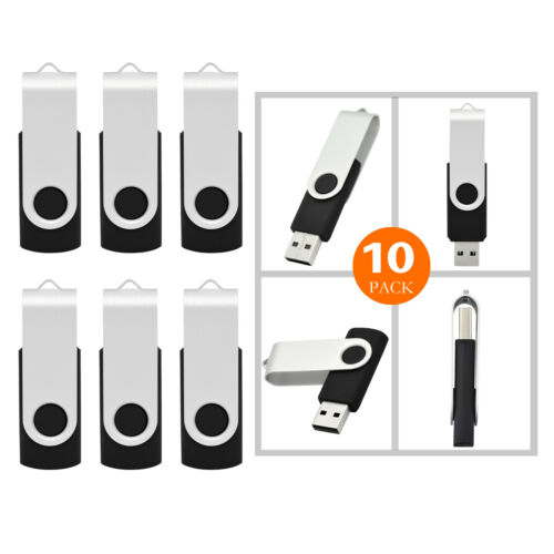 Wholesale 10//20//50//100PCS Swivel 2GB USB Memory Sticks Flash Pen Drive Black