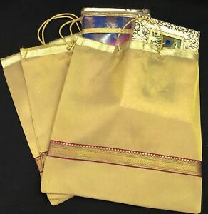 Details About 5 X Saree Bag Indian Wedding Suit Lehnga Golden Organza Designer Large Gift Bags