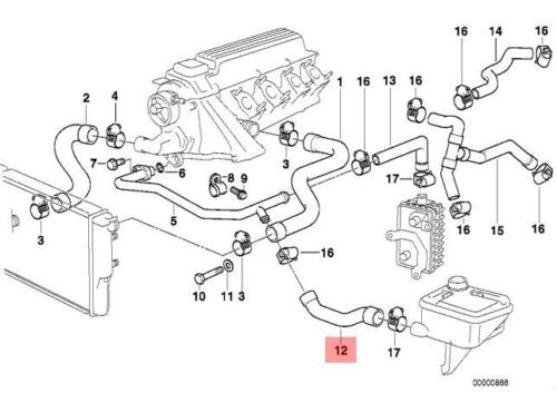 Genuine BMW E36 Compact Estate Cooling System Water Hose OEM 11532245505