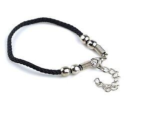 Women/'s Men/'s Unisex Black String Lucky Beads Charm Bracelet Jewellery Gift UK