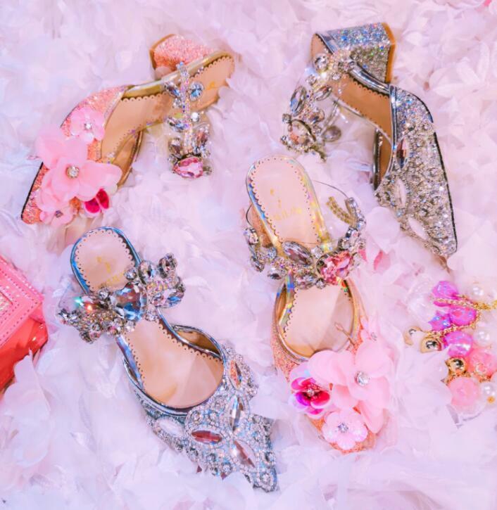 Mano-tachonado flor de lujo Bloque Talón Puntiagudo Zapatillas Boda Zapatos de señora