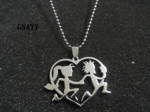 Gnayy stainless steel 15 heart hatchet man girl icp pendant image is loading gnayy stainless steel 1 5 039 039 heart aloadofball Gallery
