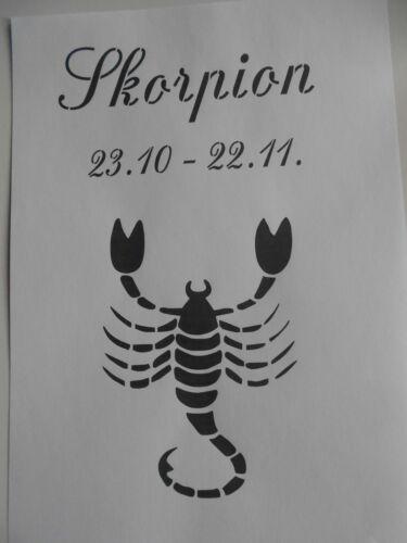 Schablone Sternzeichen Skorpion auf A4