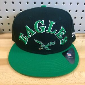Philadelphia-Eagles-Team-NFL-Football-New-Era-9FIFTY-Snap-Back-Black-Hat-EUC-Cap