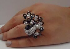 PEACOCK 925 STERLING SILVER RING W/ 10 CT WHITE & BLACK LAB DIAMONDS/ SZ 5 - 9