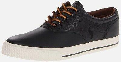 POLO RALPH LAUREN men SHOES Vaughn Saddle LEATHER Fashion Sneaker BLACK 8.5,10.5