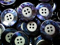 Large 25mm 40L Navy Blue Shell Effect Polished 4 Hole Coat Jacket Buttons (Z166)