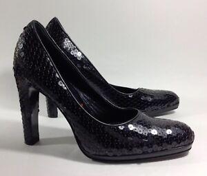 MIU-MIU-Black-Sequin-Leather-Pumps-High-Heels-Court-Shoes-Size-UK-4-5-EU-37-5