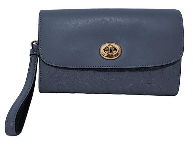 aa890119570 Coach Womens Midnight Blue Embossed Leather Crossbody Bag Purse F24469  8240-2