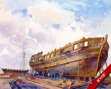 BRITISH NAVY WAR SHIP SIR ISAAC BROCK CONSTRUCTION PAINTING CANVASART PRINT