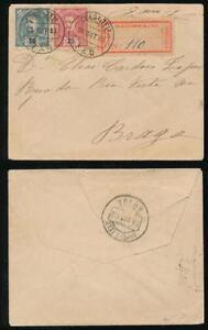 PORTUGAL-1903-REGISTERED-FAO-to-BRAGA-CANCEL-TIES-ETIQUETTE
