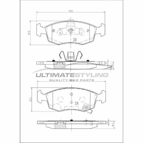 Chrysler Ypsilon Hayon 2011-2015 0.9 1.2 1.3 PLAQUETTES FREIN AVANT W149-H53-T17.8