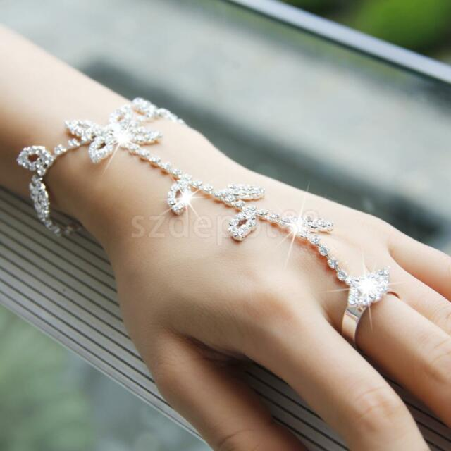 Silver Crystal Leaves Bracelet Slave Chain Hand Harness Ring Bridal Jewelry