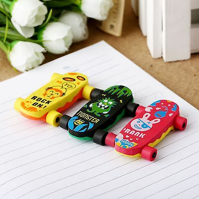 Cool Skateboard Style Eraser Pencil Rubber Cleaner Stationary Kid Child Gift Toy