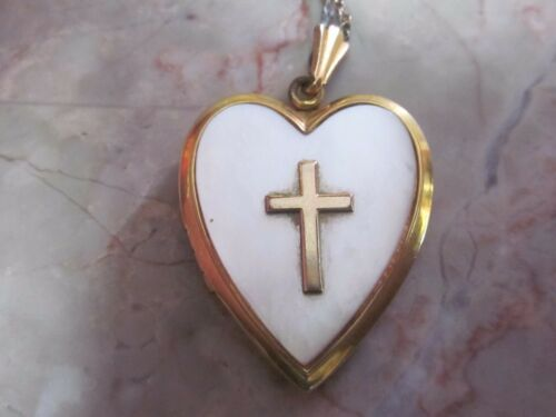 Vintage Mother of Pearl Religious Locket - image 1