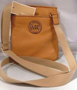 Details about NWT Michael Kors Fulton Peanut Leather Crossbody Messenger Swingpack Hand Bag