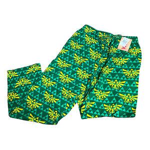 The Legend Of Zelda Pajama Lounge Pants Adult Size Medium Hyrule Crest Green