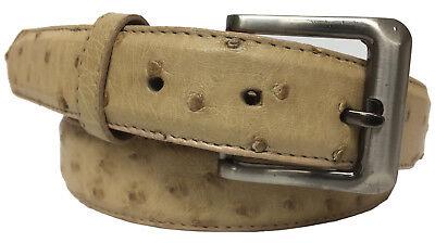 Mens Beige Sand Genuine Ostrich Skin Dress Belt Leather Western Cowboy Thin New