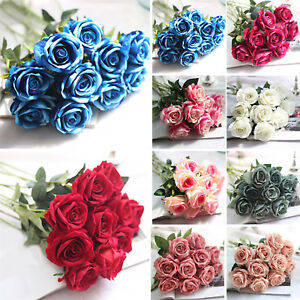 Hg Artificial Fake Roses Silk Flower Wedding Home Bridal Bouquet - Which-artificial-flower-colors-are-good-for-a-home