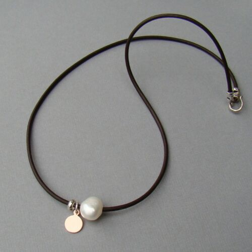 U/&C Sundance White Pearl 14k Rose Gold Filled Coin Brown Leather Cord Necklace